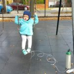 One of her few trips to a playground this fall.